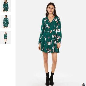 Express green floral print dress